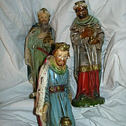 Old Large Nativity Figures Three Kings Wise Men Chalk Ware Fine Christmas Religious Statue