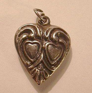 Sterling Silver Heart Charm Two Hearts In a Heart From a Fine Old Collection of Puffy & Sterling Hearts