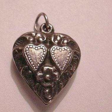 Sterling Silver Heart Charm Pair Hearts In A Heart With Flowers From A Collection of Fine Puffy & Sterling Hearts