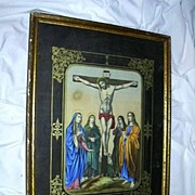 Rare Old German Christ On The Cross Print Crucifixion Framed Art
