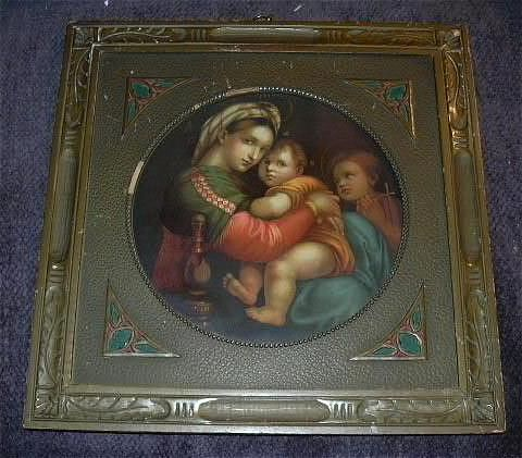 Virgin Mary & Infant Jesus, Madonna Fine Art Taber Prang Chromolithograph Print Arts & Crafts Frame Lovely  Religious Sacramental