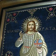 SALE PENDING Lord Pantocrator Jesus Greek  Orthodox Icon Fabric Art Unusual Fabric Design