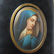 Virgin Mary Our Lady Of Sorrows Mater Dolorosa Antique Cameo Portrait  Hand Painted Porcelain 