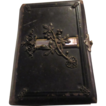 Antique German Religious Leather Book Inlaid Mother of Pearl Ornate Metal Decorations Rare Christianity Gebelbuch