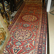 Serape Style Old Heriz Persian Oriental Rug Runner Carpet