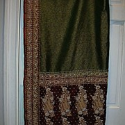Vintage Indian Sari Emerald Green Maroon & Gold Bullion Embroidery Fine Textiles Fabric of Ind