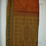 Vintage Indian Sari Saffron Orange & Cinnamon Cotton Fine Textiles Fabrics of India