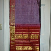 Vintage Indian Sari Lavender Silk Violet & Dusty Rose Fine Textiles Fabrics of India