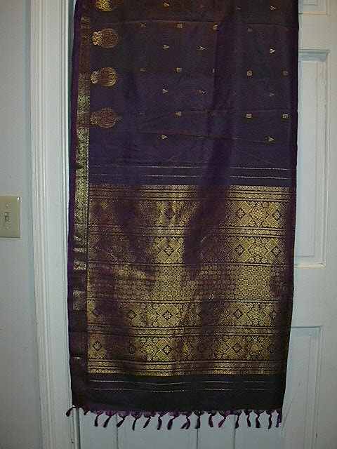 Vintage Indian Sari Iridescent Purple Silk Fine Textiles Fabric of India