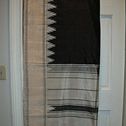 Vintage Indian Sari Black Silk & Ikat Temple Borders Fine Textiles Fabric of India