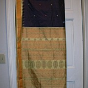 Vintage Indian Sari Navy & Yellow Orissa Silk Fine Textiles Fabric of India