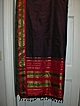 Vintage Indian Sari Eggplant Silk Green & PInk Fine Textiles Fabric of India