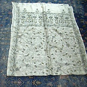 Old Silk Embroidery Shawl Or Cloth India Needlework