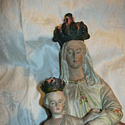 Old French Statue Virgin Mary Infant Jesus Our Lady Notre Dame