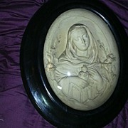 French Pipe Clay Carved Virgin Mary Immaculate Heart Cameo In Bubble Glass