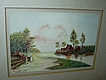 Original Watercolor Miniature Painting  Emma Johnson Farm Pastoral Scene Fine American Art