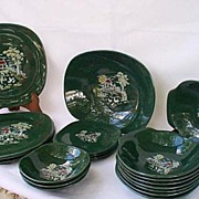 Harvest Farm Scene Square Green Dinnerware  Harmony House