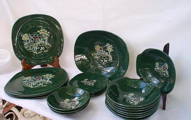 Harvest Farm Scene Square Green Dinnerware Harmony House from