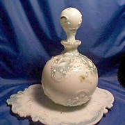 Victorian Embossed Opaque Perfume Bottle Decanter