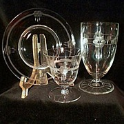 Elegant Oyster or Fruit Cocktail Cut Crystal Set of 4