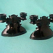 L E Smith Black Amethyst Mt. Pleasant Double Candelabra Pair