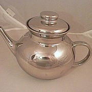 Tea pot Glass with Silver Overlay