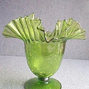 Blenko  Crackle Glass  Green  Vase Ruffled  8 ""