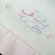 SALE Embroidered Blue Bears Decorate 1940's Crib Coverlet