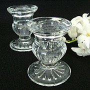 SALE Heavy Clear Pressed Glass Candle Holders