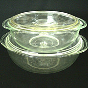 SALE Pair Clear Glass Pyrex Vegetable Servers With Lids