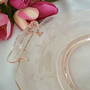 SALE Pink Depression Glass Small Etched Serving Plate