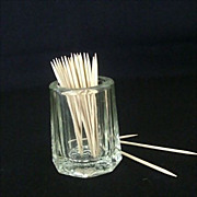 Collectible Glass Toothpick Holder With Bottom Rose