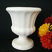 SALE Matte White Signed Haeger Fluted Vase