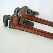 SALE Pair Ridgid 10-Inch Adjustable Alloy Steel Wrenches