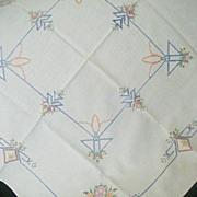 Embroidered Cross Stitch Small Tablecloth