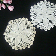 Pair Small Round Hand Crocheted Doilies