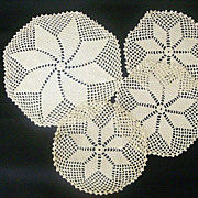 Four-Piece Set Matched Hand Crocheted Doilies