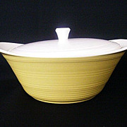 SALE Large Yellow Vegetable Server With Matching Lid