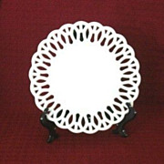 SALE Westmoreland Milk Glass Plate With Interwoven �H� Border