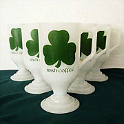 SALE Milk Glass Irish Coffee Mugs With Advertising & Shamrocks