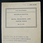 Original War Dept 1941 Technical Manual TM 10-590