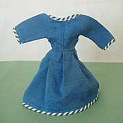 Blue Doll Dress Features Matching Striped Piping
