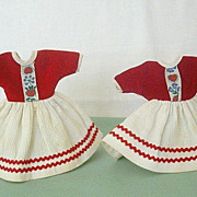 Matched Pair 1960's Small Doll Dresses