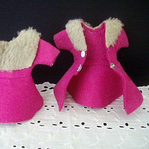 Matching Pair Small Hot Pink Doll Coats
