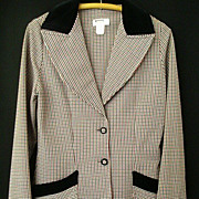 SALE Herringbone Riding Jacket With Velvet Trim - Size 10