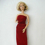 Dark Red Velvet Strapless Sheath Barbie-style