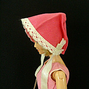 Hot Pink Sunbonnet With Lace Edge