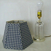 Small Pressed Glass Lamp With Gingham Shade