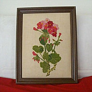 SALE Puffy Framed Colorful Geranium Embroidered With Wool