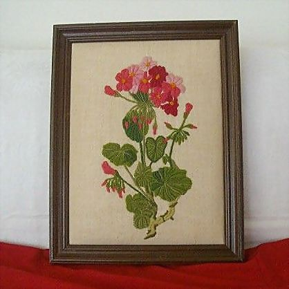 Puffy Framed Colorful Geranium Embroidered With Wool